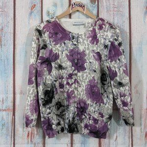 💎  Alfred Dunner Floral Print Cardigan Size PM